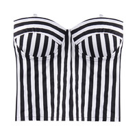 'The Lareyne' Monochrome Stripe Zipped Back Crop Tube Top