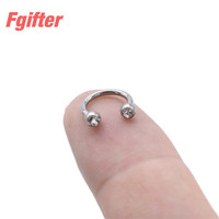 12pcs/lot G23 Titanium Crystal Circular Barbells Body Piercing Jewelry Nose Rings Septum Lip Ear Navel Nipple Piercing