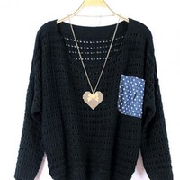 Black Loose Pullover Pocket Sweater$42.00