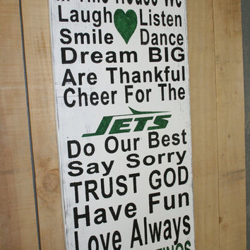 Family Rules Sign NY Jets Sign Distressed Wood Sign Wood Wall Art Wedding Gift Bridal Shower Gift Housewarming Gift Sports Gift Handmade