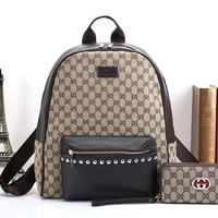 GUCCI Trending Women Men Leather School Bag Bookbag Backpack Double Shoulder Bag Two Piece Set Khaki I