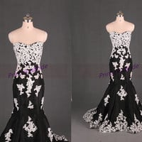Latest black taffeta evening dresses with ivory lace,long mermaid prom dress hot,cheap sweetheart women gowns for wedding party.