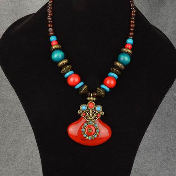 Ma at s Vow Red  Turquoise Beaded Elaborate Huge Bronze Egyptian Cleopatra  Pharoah Collar Carved Pendant 0d03099b2