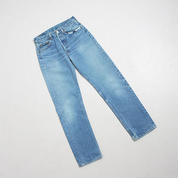"Vintage Levi's 501 JEANS - Over Dyed Blue Cotton Denim Embroidered Jeans 1980s - 27"" x 30"" Small"
