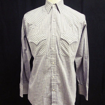 Retro Blue White Check Smart Western Long Sleeved Button Down Shirt S