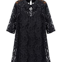 Floral Lace Half Sleeve Chiffon Mini A-line Dress