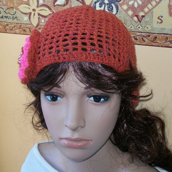 Adult Red Crochet Hat with a Flower by labostyle on Etsy