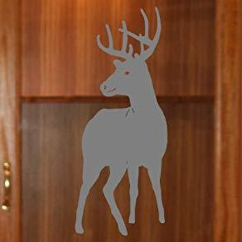 Buck Standing Deer Etched Glass Vinyl Gun Cabinet Sliding Front Shower Office Window Door Decal Stickers Sticker
