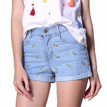 Tengo 2017 Spring summer women shorts with bananas Women's denim shorts female high waist shorts casual short pants Jeans woman