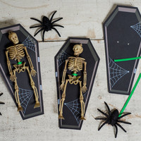 INSTANT DOWNLOAD Skeleton toy coffin Halloween non candy treat empty open coffin to attach goodie to. Easy DIY print at home