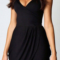 Black V-Neckline Sleeveless Wrap Mini Dress