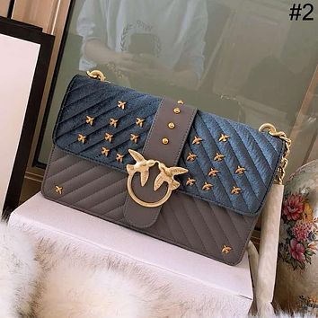 PINKO 2018 new simple female models shoulder diagonal small square bag chain bag #1