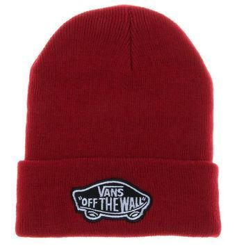 Red Vans Off The Wall Winter Beanies Truck Cap Knit Hat Unisex Plain Warm Soft Beanie