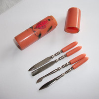 Art Deco 1920s Painted Coral Celluloid Manicure Set - Shabby Chic