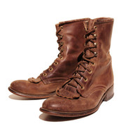 Brown Kiltie Lacer Boots - Leather Ankle Boots - Women Size 8 M
