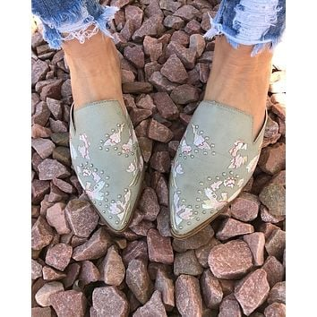 What A Stud Embroidered Flat Mules