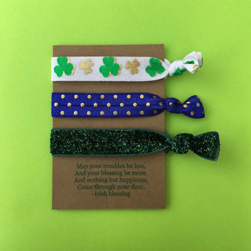 Fold Over Elastic Irish & St. Patrick's Day Hair Tie With Quote On It - Perfect For Party Favors, Stocking Stuffers, Work Out, Or Casual Use
