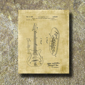 Electric Bass Guitar Patent Print Art Illustration Printable Instant Download Poster UP009bur