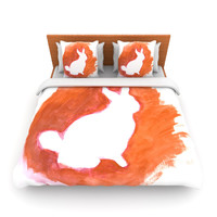 "Theresa Giolzetti ""Orange You A Bunny"" Abstract Paint Lightweight Duvet Cover"