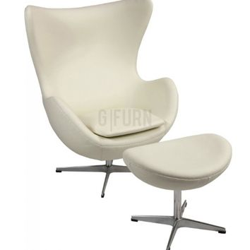 Egg Chair & Ottoman - Leather - Reproduction | GFURN