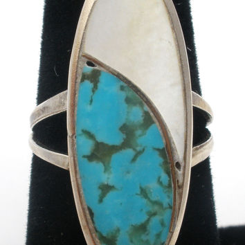 Sterling Silver EE Ring with Turquoise & MOP