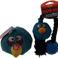 Hartz Angry Birds Dog Toys Set 2 Blue Ball Launcher Tuff Stuff Bolo Squeaker NEW