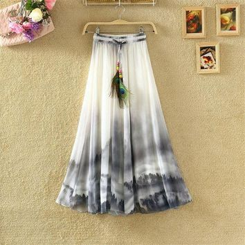 ESBONFI 2017 Vintage Maxi Skirts Women Solid Boho Chiffon Saia Longa Summer Vestidos Tulle Casual Bohemian Long Skirts Woman Clothing