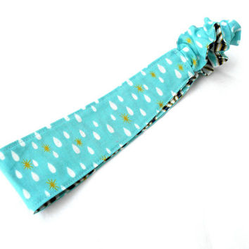 Raindrops and Geometry Reversible Headband -  Navy Blue Gold Reversible Headband