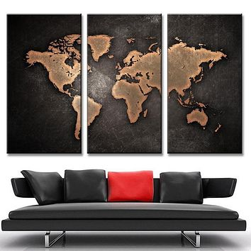 3 Pieces World Map Paintings HD Abstract World Map Canvas Painting for Living Room Wall Modern Decor Picture(Unframed)