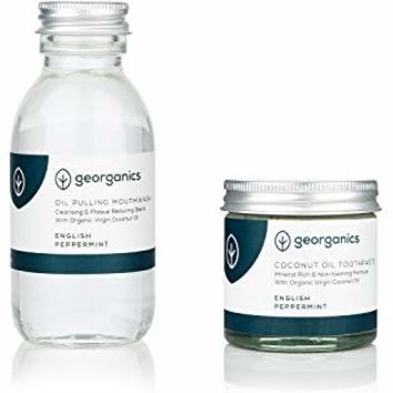 georganics Natural Toothpaste 60Ml And Coconut Oil Pulling Mouthwash 100Ml Set - English Peppermint