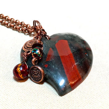 Red Heart Necklace, black heart pendant necklace agate stone heart necklace copper gift Valentines Day gift for women for girlfriend