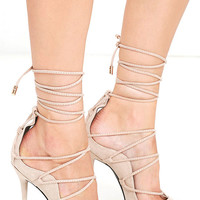 Party Anthem Nude Suede Lace-Up Heels
