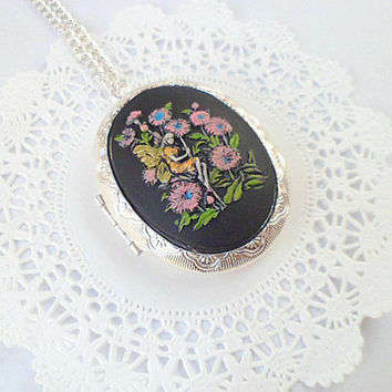 Painted Fairy Fantasy Whimsical Unique Cameo Silver by Clotique