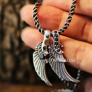 Sterling Silver Double Angel wing Necklace Set Onyx 3mm Thick 19.7inch Chain