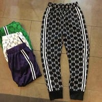 Gucci Women Men Trouser More Logo Print Stripe Two Line Long Pants Black