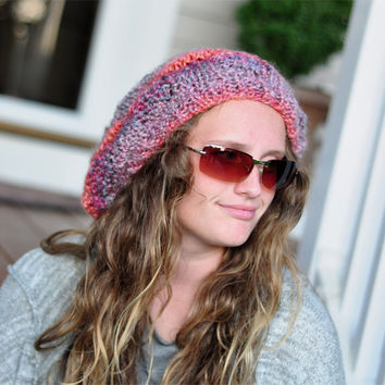 Slouchy Hat Slouchy Beanie, Hand Knit Winter Adult Teen Fall-Winter Print  -  Ready to Ship