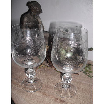 2 etched Crystal goblets Wine glasses  Wedding by MamaLisasCottage