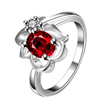 Ruby Red Floral Stud Petite Ring