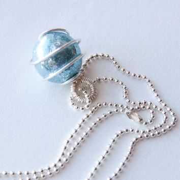 Light Blue Glittering Christmas Ball Ornament Necklace, Polymer Clay, Christmas Jewelry, Gifts under 10