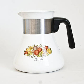 "Vintage Replacement Corning Ware ""Spice of Life"" Stovetop Teapot or Percolator, 6 Cup Coffee Pot, P-106, Corningware Pyroceram (BASE only)"