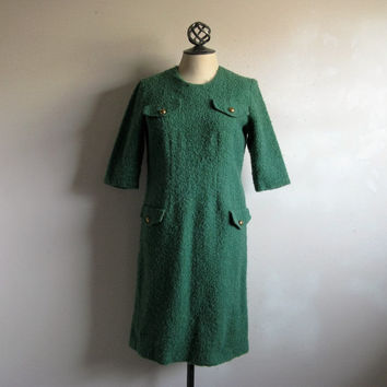 Vintage 1960s Boucle Dress 60s Joyce Palmer Grass Green Wool Shift Medium