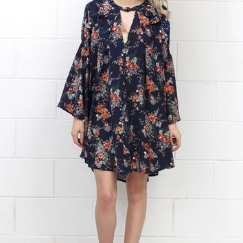 Ruffled Keyhole Back + Front Floral Dress {Navy Mix} - Size SMALL