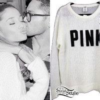 Ariana Grande: 'PINK' Logo Ivory Sweater   Steal Her Style