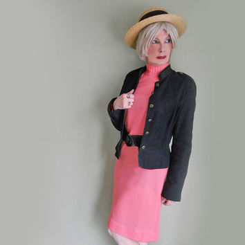 Vintage 1960s Ribbed Coral Knit Dress with Long Sleeves and Mock Turtleneck - Versatile!