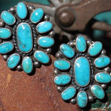 1980s Federico Jimenez Sterling Silver Turquoise Earrings Cluster
