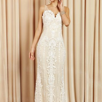 Crochet Full Mesh Back Long Dress