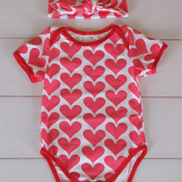 Sale- Baby Valentines Onsie and Knot Headband