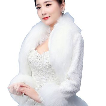 In Stock Wedding Accessory Faux Fur Black White Custom Made Bridal Coat Wedding Bolero Stoles Jacket Shrug Wraps LF14