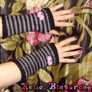 Striped Heart Armwarmers