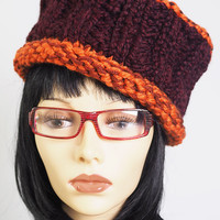 maroon knit hat / burgundy crochet hat / orange trim hat / wine knit hat / woman winter hat / teen girl hat / OOAK hat / one of a kind hat